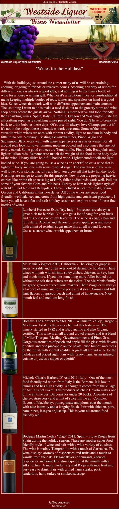 December 2013 Wine Newsletter