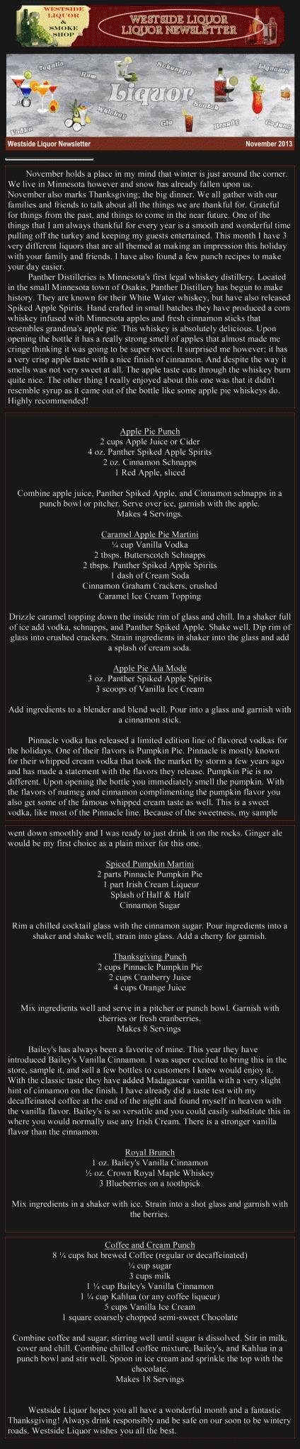 November 2013 Liquor Newsletter