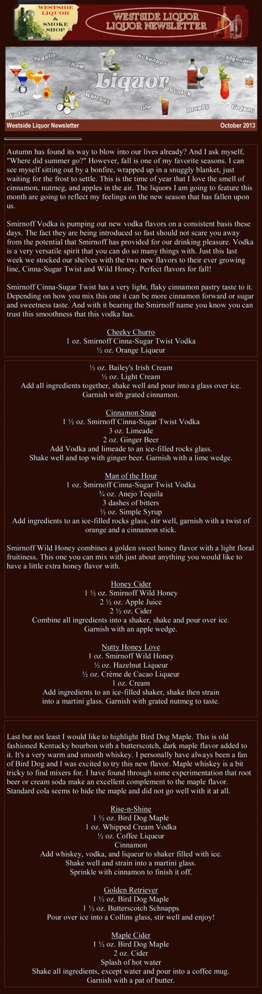 October 2013 Liquor Newsletter